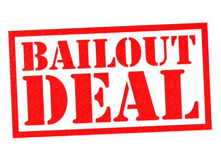 economic downturn: BAILOUT DEAL red Rubber Stamp over a white background. Stock Photo