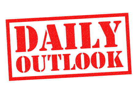outlook: DAILY OUTLOOK red Rubber Stamp over a white background. Stock Photo