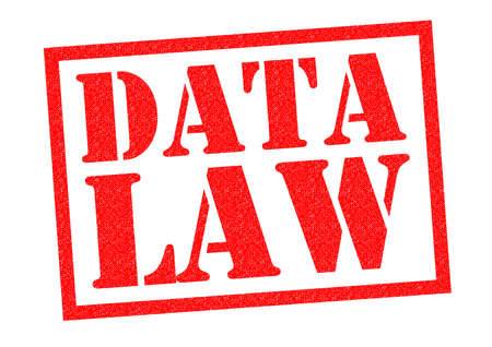 unlawful act: DATA LAW red Rubber Stamp over a white background. Stock Photo
