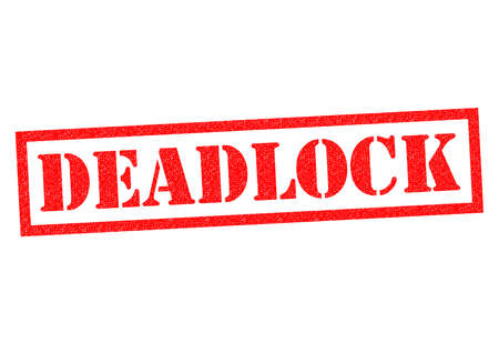 deadlock: DEADLOCK red Rubber Stamp over a white background.