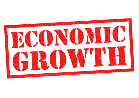 credit crunch: ECONOMIC GROWTH red Rubber Stamp over a white background.