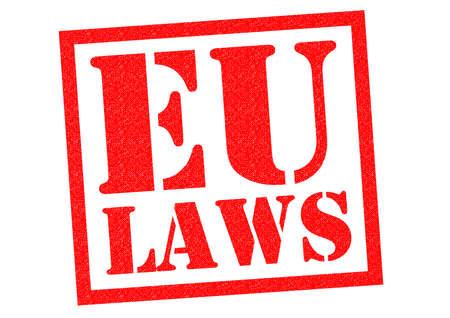 tratados: Goma roja LEYES UE sello sobre un fondo blanco. Foto de archivo