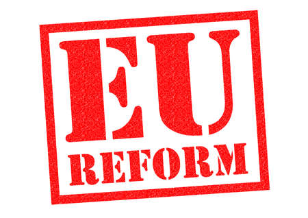 reorganize: EU REFORM red Rubber Stamp over a white background.