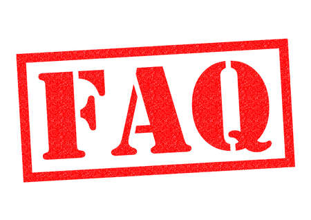 questioning: FAQ red Rubber Stamp over a white background. Stock Photo