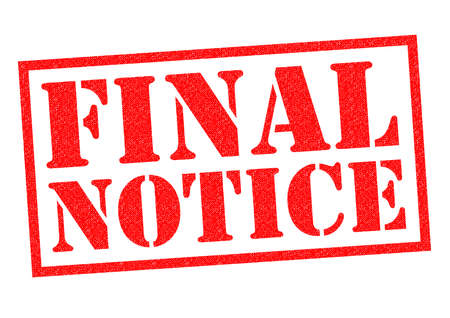 concluding: FINAL NOTICE red Rubber Stamp over a white background. Stock Photo