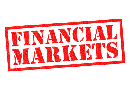 budgets: FINANCIAL MARKETS red Rubber Stamp over a white background.