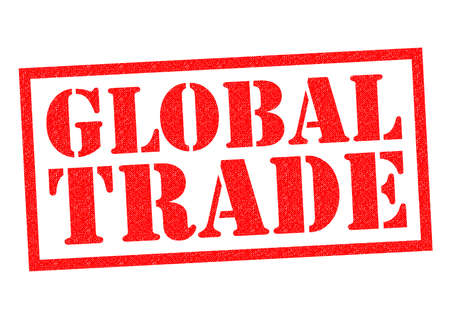 economic downturn: GLOBAL TRADE red Rubber Stamp over a white background.