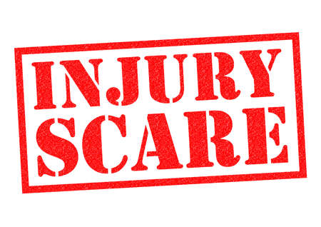 bruised: INJURY SCARE red Rubber Stamp over a white background. Stock Photo