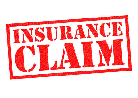 insurance claim: INSURANCE CLAIM red Rubber Stamp over a white background. Stock Photo