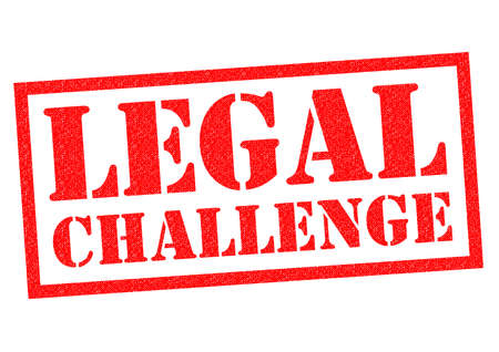 statutory: LEGAL CHALLENGE red Rubber Stamp over a white background. Stock Photo