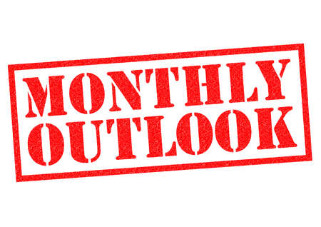 MONTHLY OUTLOOK red Rubber Stamp over a white background. Stock fotó