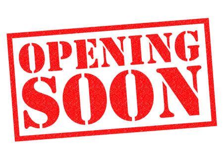 shopfront: OPENING SOON red Rubber Stamp over a white background.