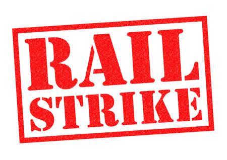 public services: RAIL STRIKE red Rubber Stamp over a white background. Stock Photo
