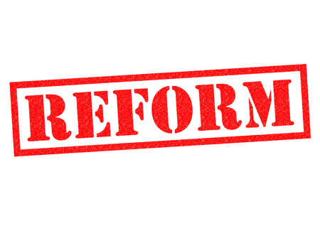 reforming: REFORM red Rubber Stamp over a white background.