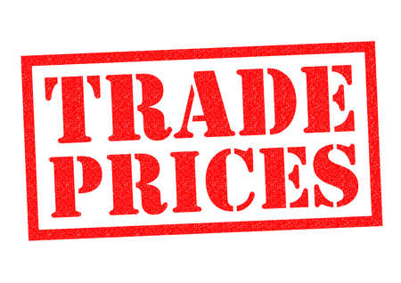 low cost: TRADE PRICES red Rubber Stamp over a white background.