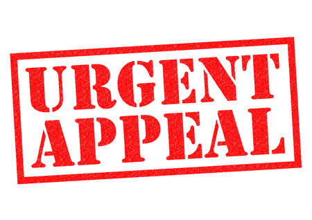 persuasive: URGENT APPEAL red Rubber Stamp over a white background. Stock Photo