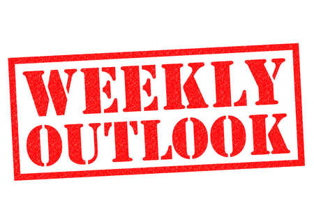 outlook: WEEKLY OUTLOOK red Rubber Stamp over a white background. Stock Photo