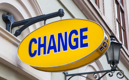 money exchange: A currency exchange shop in a European country. Stock Photo