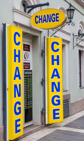 currency exchange: A currency exchange shop in a European country. Editorial