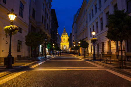 saint stephen cathedral: A view of St. Stephens Basilica from Zrinyi Utca in Budapest, Hungary. Stock Photo