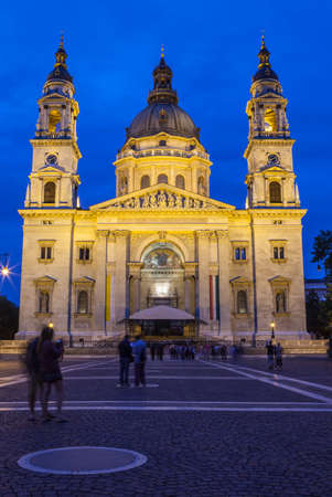 saint stephen cathedral: A dusk-time view of the historic St. Stephens Basilica in Budapest, Hungary.