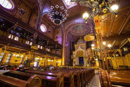 forster: BUDAPEST, HUNGARY - AUGUST 18TH 2015: A view inside the magnificent Dohany Street Synagogue in Budapest, on 18th August 2015. Editorial