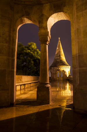 halaszbastya: A view from inside one of the towers in the Fisherman's Bastion in Budapest, Hungary.