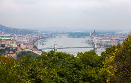 building a chain: The magnificent view of Budapest from the Citadel.  The view takes in sights including the Chain Bridge and Margaret Bridge spanning over the Danube, the Hungarian Parliament Building, Margaret Island and Buda Castle.