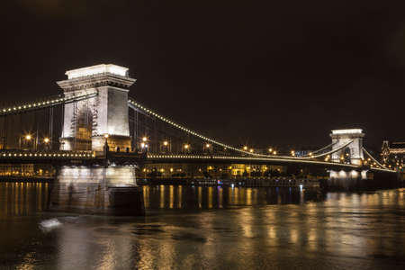 the chain bridge: A night-time view of the beautiful Chain Bridge in Budapest, Hungary. Stock Photo