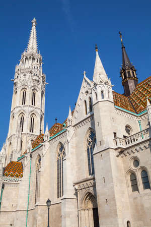 halaszbastya: The magnificent architecture of Matthias Church in Budapest, Hungary.