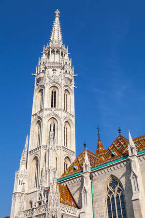 matthias church: The magnificent spire of the Matthias Church in Budapest, Hungary.