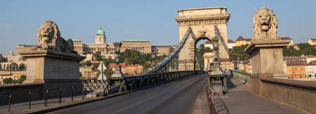 chain bridge: A view of the historic Chain Bridge with Buda Castle in the background in Budapest, Hungary.