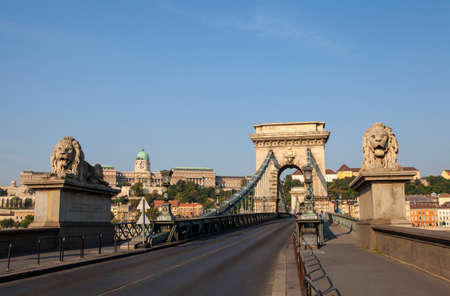 the chain bridge: A view of the historic Chain Bridge and Buda Castle in Budapest, Hungary. Stock Photo