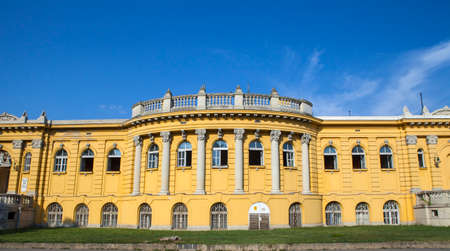 szechenyi: The exterior of the Palace that houses the Szechenyi Baths in Budapest, Hungary. Editorial