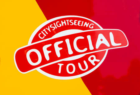 sightseeing tour: A close-up of the Official City Sightseeing Tour sign on a sightseeing bus.