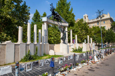 'second world war': A memorial dedicated to the victims of Nazi Occupation during the Second World War in Budapest, Hungary.
