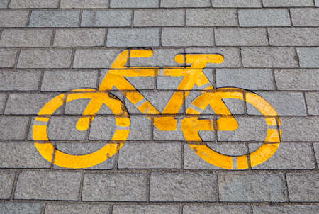segregated: A cycle lane symbol in Budapest, Hungary. Stock Photo