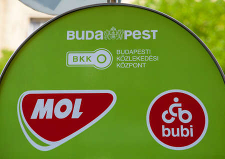 mol: BUDAPEST, HUNGARY - AUGUST 14TH 2015: A Cycle Hire hub in central Budapest, on 14th August 2015.