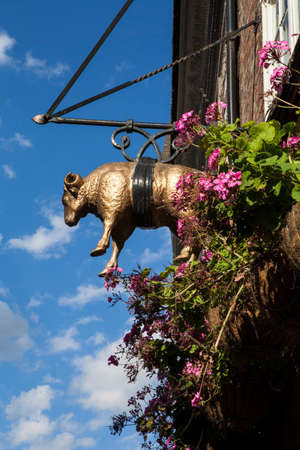 public house: A detail of the Golden Fleece public house in York, England.  The Golden Fleece is said to be the most haunted pub in York.