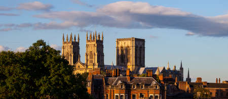 A panoramic view of the historic York Minster in York, England.