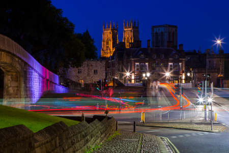 england: A night-time view of York Minster in the city of York, England.