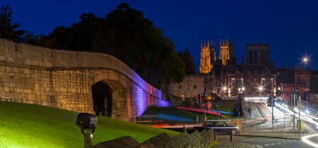 minster: A panoramic night-time view of York Minster in the city of York, England.