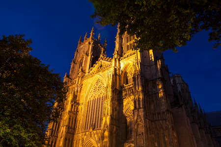 york minster: A view of the historic York Minster at dusk in York, England. Stock Photo