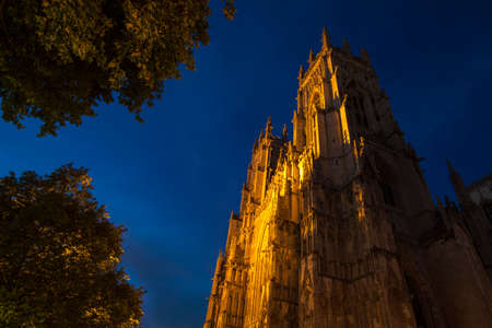 minster: A view of York Minster at dusk in York, England. Stock Photo