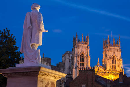 york minster: An evening view of the William Etty statue and York Minster in York, England. Stock Photo