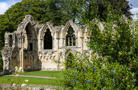 saint mary: St. Mary's Abbey Ruins situated in Museum Gardens in York, England. Editorial