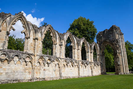 saint mary: St. Mary's Abbey Ruins situated in Museum Gardens in York, England.