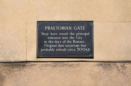 praetorian: A plaque marking the location where Praetorian Gate once stood - the gateway into the city during Roman times. Stock Photo