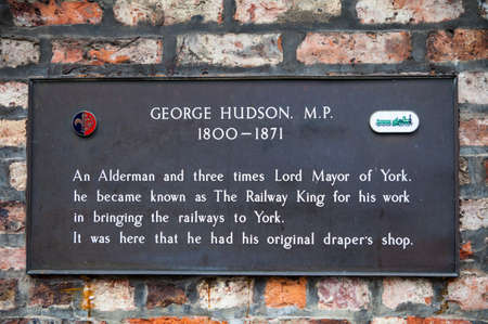 parliamentarian: A plaque remembering the work of George Hudson M.P. in York, England.