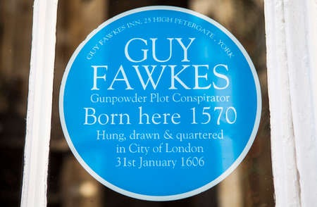 blue plaque: A blue plaque sticker at Guy Fawkes Inn marking the location where, in 1570, Guy Fawkes was born in York, England.